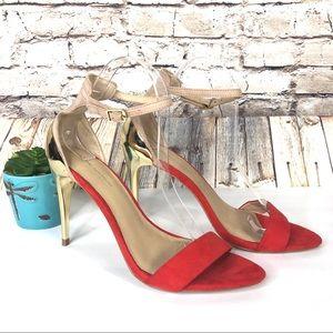 Zara Open Toe Ankle Strap Heel Sandals Gold